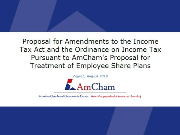 "New position paper: ""Proposal for Amendments to the Income Tax Act and the Ordinance on Income Tax Pursuant to AmCham's Proposal for Treatment of Employee Share Plans"""