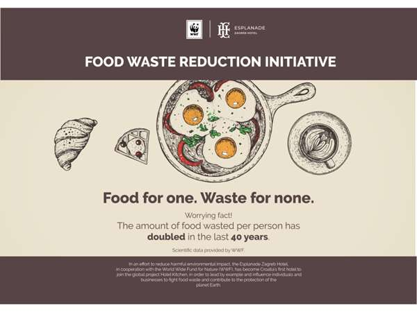 Zagreb's Esplanade Hotel Is the First in Croatia to Recognise WWF's ''Food Waste'' Global Initiative  – Aimed at Reducing Food Waste