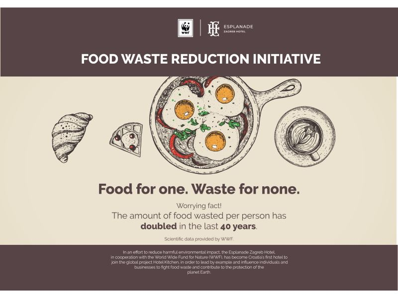 Zagreb's Esplanade Hotel Is the First in Croatia to Recognise WWF's ''Food Waste'' Global Initiative